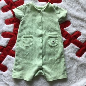 Tommy Hilfiger Baby Boy 0-3 Green Snap-Up Romper